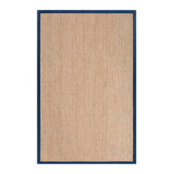None - Hand-woven Bergamo Natural Natural Fiber Seagrass Cotton Border Rug (5' x 8') - This unique rug is hand-woven in India from 100-percent seagrass for a natural fiber pile. Featuring a contemporary mix of style and trend,this rug allows you to use it to anchor your space.
