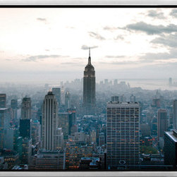 Elementem - Empire State Building Framed Print - Our amazing color framed photograph of the Empire State Building in Manhattan is the perfect addition to any New Yorker, or New York-lover's home or office.  Nothing says New York like the City's most iconic building, here in all its glory, defining the view of New York's lower half.  It is printed on vinyl and mounted on a wooden MDF frame.   We laminate over each of our photos to allow them to be easily cleaned and protected.  Packed with wall hangers, they are easy to install