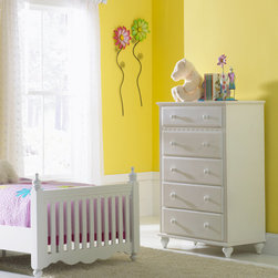 Hillsdale Furniture - Hillsdale Lauren Youth Chest - The whimsical yet traditional styling of the Lauren Post bedroom group makes it a delightfully timeless addition to any young girl's room. The white finish coordinates with any decor you might choose and the scalloped design carries through each piece. The drawers have French dovetail drawer fronts  English dovetail drawer backs and wood on wood drawer glides.