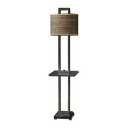 Uttermost - Uttermost Stabina End 67 Inch Table Lamp - Rustic bronze metal with burnished edges, black marble foot and a tempered, rectangle glass tray. The oval drum shade is brown and tan woven rattan with decorative trim.