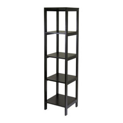 Winsome Wood - Hailey Modular Tower Shelf, 5-Tier - Our 5 tier Hailey Modular Tower Shelf entertainment and storage/display furniture in espresso finish is designed to stand alone or be paired with other pieces to create and entertainment set.