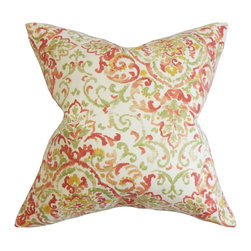"""The Pillow Collection - Halcyon Floral Pillow Rose Green - A great addition to any rooms, this decor pillow lends exceptional comfort and style. The bright shades of orange, red, green, yellow and white complements the intricate floral pattern. This square pillow instantly brings life to your interiors. Ideal for indoor use, this 18"""" pillow looks lovely on your sofa, bed or seat. Proudly crafted in the USA, this contemporary pillow is made from 45% rayon and 55% cotton. Hidden zipper closure for easy cover removal.  Knife edge finish on all four sides.  Reversible pillow with the same fabric on the back side.  Spot cleaning suggested."""