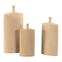 Flat Cream Crosshatch Vases - Set of 3 - About the Howard Elliott CollectionThe Howard Elliott Collection is one of the premiere manufacturers of decorative mirrors and accessories in the home furnishings industry. Howard Elliott offers innovative designs in a wide variety of styles, and the company prides itself on its high standards and quality. No matter your style, the Howard Elliott Collection offers pieces that are sure to add sophistication and luxury to your decor.