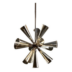 Viz Glass, Inc. - Flute Chandelier (Pendant) - SKU: CH-TB56CH-9PN - Flute Chandelier. Champagne Glass. Bulb (included): 9 - 25W G9 Bulbs. Flush Mount.  UL listed. Hardwire; professional installation recommended