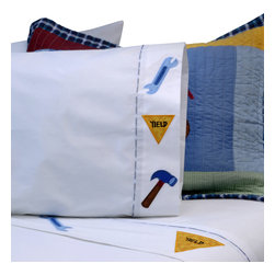 Pem America - Construction Twin Sheet Set - Heavy equipment and construction themes are the focus of this quilt. The pattern consists of  large blocks with sewn equipment and signs.  Blues dominate the face of the quilt of this popular kids quilt, but bright reds and yellows add a pop to brighten up the room. Includes 1 flat sheet, 1 fitted sheet and 1 pillowcase for twin mattresses 39x75 inches in size. Sheet set is 100% cotton with deep pocketed fitted sheets. Features an appliqued border consisting of coordinating construction icons. Machine washable.