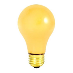 Bulbrite - Long Life Incandescent Bug Light Bulbs - 24 B - Choose Wattage: 25wOne pack of 24 Bulbs. 130 V incandescent E26 medium base A19 bulb type. 360 degree beam spread. Dimmable. Yellow color repels bugs and insects. Perfect for outdoor and security lighting. Operates in any position and can be dimmed. Color temperature: 2700 K. Average hours: 2500. Maximum overall length: 4.25 in.