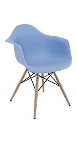 "Modway - Pyramid Dining Armchair in Blue - Wood Pyramid Armchairs are crafted out of molded plastic for the seat and a solid wood ""pyramid"" base. Comfortable and versatile, this chair can be used to decorate any space."