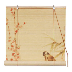 Oriental Furniture - Love Birds Bamboo Blinds 48 Inch, Width - 48 Inches - - These stunning bamboo matchstick blinds feature an elegant love birds on branches design.  Available in three convenient sizes.   Easy to hang and operate.  Available in three sizes, 24W, 36W and 48W.  All sizes measure 72 long. Oriental Furniture - WTLOVEB-48W
