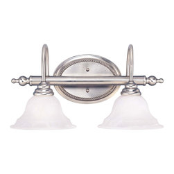 Savoy House - Savoy House Polar Bathroom Lighting Fixture in Pewter - Shown in picture: Designed by Karyl Pierce Paxton; The Pierce Paxton Polar collection with it's clean and sophisticated lines paired with the curls - pewter finish and White Faux Alabaster glass make this collection a must have for any home.