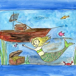 Oh How Cute Kids by Serena Bowman - Mermaid's Playground, Ready To Hang Canvas Kid's Wall Decor, 16 X 20 - Each kid is unique in his/her own way, so why shouldn't their wall decor be as well! With our extensive selection of canvas wall art for kids, from princesses to spaceships, from cowboys to traveling girls, we'll help you find that perfect piece for your special one.  Or you can fill the entire room with our imaginative art; every canvas is part of a coordinated series, an easy way to provide a complete and unified look for any room.