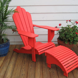 Adirondack chairs - Poplar adirondack chair with matching footstool.  Finished with exterior high gloss acrylic paint.  Ship anywhere in the US.  You pick the color.  Furniture can be personalized