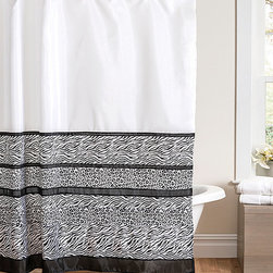 Lush Décor - Black & White Tribal Dance Shower Curtain - Combining multiple animal prints and monochromatic tones, this shower curtain effortlessly elevates the décor of a bathroom.   72'' x 72'' Polyester Dry clean Imported