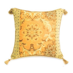 "Canaan - Pritti Spice Floral Sunburst Pattern Print 20"" x 20"" Throw Pillow - Pritti spice floral sunburst pattern print 20"" x 20"" throw pillow with cord and tassel corners. Measures 20"" x 20"" made with a blown in foam. These are custom made in the U.S.A and take 4-6 weeks lead time for production."