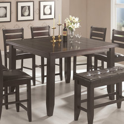 Coaster - Counter Height Table in Cappuccino - Cappuccino finished casual counter height set is crafted from select hardwoods and oak veneers. Chairs and bench are upholstered in a durable dark brown leather-like vinyl.