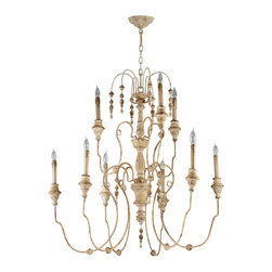 "Kathy Kuo Home - Maison French Country Antique White 9 Light Chandelier - The Maison Chandelier brings the French countryside to every room.  Constructed from wrought iron finished in a proprietary ""Persian White"" finish add antiqued elegance to this nine light chandelier.  Sophistication meets country classic at its best."