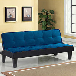 None - Hamar Blue Finish Adjustable Sofa - Make the most of your space with this tufted adjustable sofa. It is designed with crisp,modern lines and bold colors,making a dramatic addition to your home decor. It conveniently folds out into a bed,allowing you to accommodate additional guests.