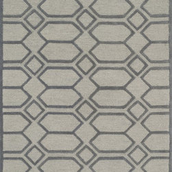 "Loloi Rugs - Loloi Rugs Celine Collection - Silver / Grey, 3'-6"" x 5'-6"" - Combining sophisticated tonal colors with geometric patterns, the Celine Collection is a great option for modern interiors. The collection is hand hooked in India of 100% wool, with high pile defining the pattern and adding texture. Available in a variety of sizes to suit any room.�"