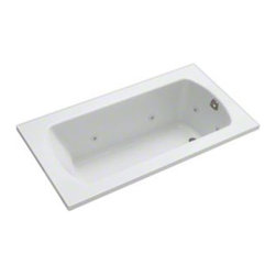Sterling - Sterling Lawson 7626110-H 60 in. x 32 in. Whirlpool Bathtub with Heat - 76261110 - Shop for Jetted/Whirlpool from Hayneedle.com! Luxury has a name and it is the Sterling Lawson 76261110-H 60 in. x 32 in. Whirlpool Bathtub with Heat! This unit utilizes 6 adjustable jets and a built-in heater to give you the full spa experience. The design of this piece provides a clean look with a contemporary feel that will elevate the decor of your home bathroom. One of its most luxurious features is its carefully contoured backrest with lumbar support. Capable of holding up to 53 gallons of water this relaxing tub is ideal for the individual who enjoys a nice long soak after a hard day's work! As for the construction of this bathtub Sterling has a reputation for quality craftsmanship and like all of their other bath products; this unit is made from solid Vikrell. The compression-molded Vikrell is a Sterling exclusive that provides strength durability and a lasting beauty that you can customize with your own choice of finish. Kohler almond Kohler biscuit and pure white are all available with a coating of high-gloss that creates a smooth shiny surface which looks marvelous and is incredibly easy to clean. This CSA-certified bathtub measures 60W x 32D x 20.3125H inches and fits nicely into any standard opening making it especially convenient for retrofit as well as new build settings. Receptor only; end walls and back walls can be ordered separately. Available in your choice of left- or right-hand drainage.About SterlingEstablished in 1907 and quickly recognized as a leading manufacturer of faucets and brassware Sterling has been known for their diversity of products and industry-leading designs for over a century. In 1984 Sterling was acquired by Kohler Co. to create a mid-priced full-line plumbing brand and allow Kohler the opportunity to sell their products in retail stores. Over the years Kohler quickly began acquiring other companies to help enhance the Sterling line 