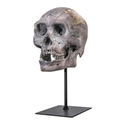 Interior Illusions - Skull Tabletop Decor, Gray - Place this spooky Skull Tabletop Decor on an entryway table for a dramatic look. Handmade with a gray resin finish and slim black stand, this skull makes a perfect addition to your Halloween-themed decor.