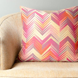 """Ikat Decorative Throw Pillow - I love this """"Pink Flame"""" pillow. It's a little wild, but somehow the crisp geometry of the print keeps it feeling sophisticated. I would tuck it into a white or cream-colored armchair in a sunny window."""