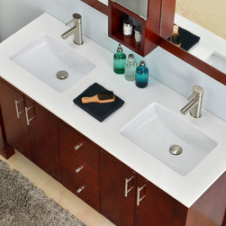 "Modern Bathroom Vanities - This solid wood 60"" double sink vanity from the Vienna collection has a versatile style that fits into both transitional and modern settings. The beauty of this vanity lies in its simplicity, with straight lines and right angles. It is ideal for homeowners who want a clean and understated elegant look."