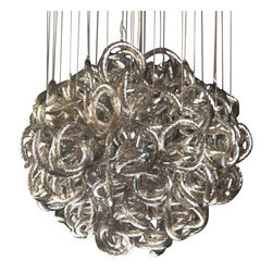 Viz Glass, Inc. - Infinity Chandelier, Metallic - Add instant elegance to your home with the Infinity Chandelier. This unique piece is handblown from Italian Glass and features a round tangle of textured metallic glass strands hung from a chrome hardware base. Variations may occur in individual pieces. Maximum height is 74 inches. Includes nine 40 watt candelabra bulbs. UL listed. Hardwire; professional installation recommended.