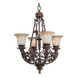 Thomasville Lighting - Thomasville Lighting P4191-75 Messina 4 Light 1 Tier Mini Chandelier - Thomasville Lighting P4191-75 Four Light Messina Single Tier Mini ChandelierFrom the hand-painted Aged Mahogany finish to the incorporated decorative leaves, scrolls, intricate details and Sepia Haze Glass, this grand chandelier will add a classic elegance to any foyer, or dining area. Reminiscent of turn of the century gilded elegance, this timeless single tier, four light mini chandelier showcases the best of classic design.Refresh interior settings with Messina�s iron scroll basket motif and traditional hand-painted accents. An Aged Mahogany finish is complemented by decorative leaf details in this collection.Thomasville Lighting P4191-75 Features:
