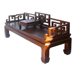 Golden Lotus - Chinese Ru Yi Back Daybed Couch Chaise - This is an oriental Chinese style daybed with a small table. It has simple clean design and natural wood light brown color. The back and side panel is in scroll Ru Yi pattern. ( the side and back panel can be removed, not permanently installed )