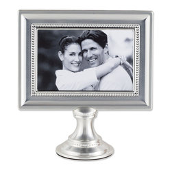 Lawrence Frames - 4x6 Brushed Silver Plated Metal Pedestal Picture Frame with Bead Design - Truly unique and beautiful brushed satin silver plated and lacquer coated pedestal picture frame with bead design.  Frame comes individually boxed. Includes high quality navy blue velvet easel backing for tabletop display.