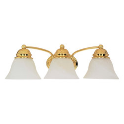 "Nuvo Lighting - Nuvo Lighting 60-350 Empire 3-Light 21"" Vanity with Alabaster Glass Bell Shade - Nuvo Lighting 60-350 Empire 3-Light 21"" Vanity with Alabaster Glass Bell Shades"