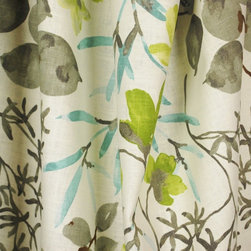 Kauf - Gazebo Cloud Tropical Floral Drapery Fabric By The Yard - Gazebo in the color Cloud is pink, green and gold floral fabric. Kaufman fabrics are great for light upholstery, bedding and draperies.
