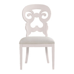 Stanley Furniture - Coastal Living Cottage Wayfarer Side Chair - Twilight Finish - Like the old bistro chairs outside the coastal candy shoppe, these cut-back chairs bring an easy smile to any table. Upside down heart motif gives a kiss to your lower back, while the open top section is perfectly sized to fit your palm. Made to order in America.