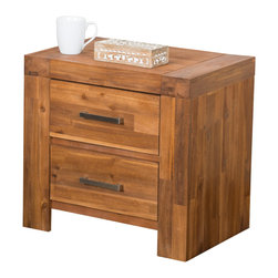 Great Deal Furniture - Lorcan Java Brown Wood 2 Drawer Bedside Cabinet Nightstands (Set of 2) - The Lorcan Bedside Cabinet Nightstands are the perfect accent pieces for your bedroom. The java stained acacia wood cabinet is designed with beauty and functionality in mind. The industrial inspired unit will proudly display items on its surface area, while tucking away others in the 2 drawer storage compartments. Suitable for the bedroom, you will appreciate the look and design of the Lorcan Bedside Cabinet Nightstand set.