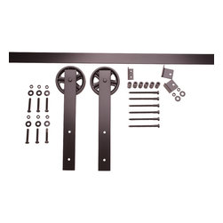 Nw Artisan Hardware - Vintage Barn Door Hardware, Black, 5 ft - The Vintage barn door hardware captures a rustic feeling with the hand forged 5_ spoked wheels, '2_ flat straps, and a smooth, quiet roll that works well with any door setup.