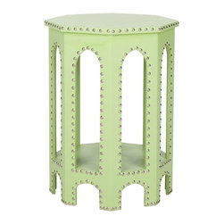 Safavieh - Safavieh Nara Light Green Accent Table - Bring a bit of color to your decor with this light green accent table. The contemporary piece features a faux-leather cover with gothic arches and detailed with iron nailheads, creating a table that will look great next to your couch.