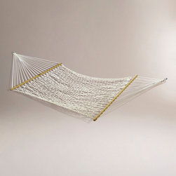 World Market - Cotton Rope 2 Person Hammock - Invite a friend for a snooze in our 13' 2 Person Hammock. It's 100% natural cotton, and built for relaxing afternoons. Attractive, strong and durable, our 2 Person Hammock will become your favorite place to take a break with a buddy, summer after summer, year after year.