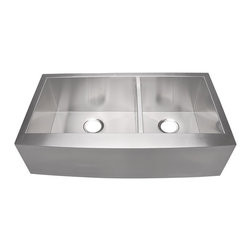 "Lavello - Stainless Farmhouse Sink 36"" - Mixing the traditional charm and functionality of the deep-bowl, farmhouse sink with the modern beauty and durability of brushed 16-gauge stainless steel, this large double sink is perfectly designed for today's busy home kitchen. It's got a lovely curved front apron for a touch of grace, and the slightly off-center, shortened divider gives you room for bigger pots with long handles."