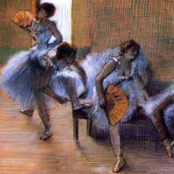 """Edgar Degas In the Dance Studio - 18"""" x 24"""" Premium Archival Print - 18"""" x 24"""" Edgar Degas In the Dance Studio premium archival print reproduced to meet museum quality standards. Our museum quality archival prints are produced using high-precision print technology for a more accurate reproduction printed on high quality, heavyweight matte presentation paper with fade-resistant, archival inks. Our progressive business model allows us to offer works of art to you at the best wholesale pricing, significantly less than art gallery prices, affordable to all. This line of artwork is produced with extra white border space (if you choose to have it framed, for your framer to work with to frame properly or utilize a larger mat and/or frame).  We present a comprehensive collection of exceptional art reproductions byEdgar Degas."""
