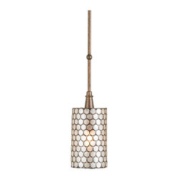 Kathy Kuo Home - Regina White Capiz Shell Modern Antique Bronze Drop Pendant - Modern, sophisticated and utterly alluring, the light is diffused through the natural capiz shells of this antique bronze pendant.  Perfect alone or above a kitchen island in a trio.