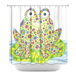 DiaNoche Designs - Shower Curtain Artistic - The Cheerful Frog - DiaNoche Designs works with artists from around the world to bring unique, artistic products to decorate all aspects of your home.  Our designer Shower Curtains will be the talk of every guest to visit your bathroom!  Our Shower Curtains have Sewn reinforced holes for curtain rings, Shower Curtain Rings Not Included.  Dye Sublimation printing adheres the ink to the material for long life and durability. Machine Wash upon arrival for maximum softness on cold and dry low.  Printed in USA.