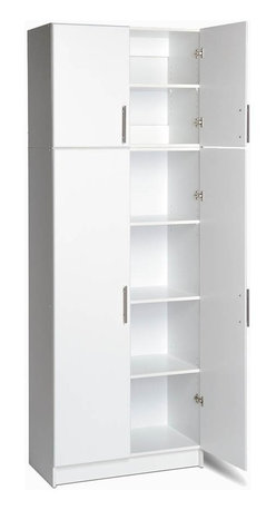 Prepac - Elite Stacking Storage Combo Set - Store almost anything you find in your garage in this attractive stacking storage combo set that includes a tall storage cabinet and its matching stacking cabinet. Adjustable shelves allow you to configure each of the six levels in order to suit your needs. Stack 'em up! These Elite cabinets are stackable to give you more floor space. Use this two piece set together or apart. * Includes one 32 in. stackable wall cabinet and 32 in. storage cabinet. 32 in. storage cabinet with 1 in. thick durable melamine work surface. Two adjustable shelves and one fixed shelf. 32 in. stackable wall cabinet with one adjustable shelf. Stylish brushed metal handles. Door with high quality European-style 6-way adjustable hinges that mount to open left or right. MDF door and drawer front with profiled rounded edges. Durable laminate finish. CARB-compliant. Warranty: Five years limited. Made from laminated composite woods with a sturdy MDF backer. Made in North America. Assembly required. 32 in. storage cabinet: 32 in. W x 16 in. D x 65 in. H. 32 in. stackable wall cabinet: 32 in. W x 16 in. D x 24 in. H