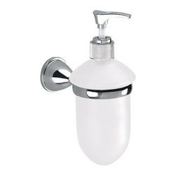 Gedy - Wall Mounted Frosted Glass Soap Dispenser With Chrome Mounting - Contemporary style wall mount round liquid soap dispenser.