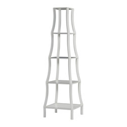 Kathy Kuo Home - Chamberlain Hollywood Regency White Lacquer 5 Tier French Etagere Display Shelf - Your cherished tchotchkes deserve a display as lovely as they are.  This French inspired Hollywood shelf takes the job in stride.  With delicate wood construction and gleaming white lacquer, the airy five tiers seem to float above one another. Modern finishing, but with a classic feel means this piece is a great fit in almost any décor. Protected by 1 year warranty