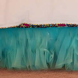 Anniston Tulle Bed Skirt, Aqua Blue - The ruffled tulle adds a little detail to the bed and makes the space under the bed available for hiding things away.