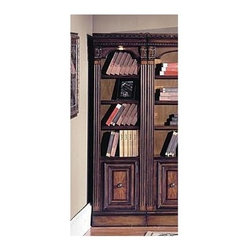 Parker House - 21 Inch Open Top Bookcase w Chestnut Finish - Choose Size: 21 in. WideBeautiful accents adorn the Huntington bookcase. It's part of a larger entertainment system that includes a TV console and connecting bridge. You'll love the traditional fluted columns with corbels and molded top featuring carved details. A bolt system adds stability for this unit. Solid poplar and Maple veneers. Multi-step Chestnut with accent shading and highlights, hand distressing, medium sheen top coat. Down lights with touch dimmer to accent the fronts of displayed items on each shelf. Front levelors that adjust from inside the base Cabinet allow for a easy and true instillation. Touch-up pen included. 21 1/8 in. W x 17 3/4 in. D x 80 1/4 in. H