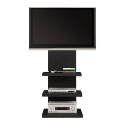 Altra Furniture - Hollow Core AltraMount TV Stand in Black - Includes TV mount for 32-60 in. flat panel TVs. TV & components not included. Height adjustable for custom view . Snap on panels provide easy access to hidden wires. Sturdy metal frame and light weight hollow core shelves. Minimal assembly required. Must be affixed to wall for stability. Max Weight: 175 lbs. Max Shelf Weight: 20 lbs. 24 in. W x 20.16 in. D x 58 in. H. Patent PendingConvenient. Stylish. Space Saving. These are only a few words that describe the AltraMount TV Stand. This new TV stand is not only very simple to put together but lets you mount your TV and creates a wire management solution all in one! No more needing to buy a mount and then pay more money for a TV stand because the AltraMount will do it all. The lightweight shelves and sturdy metal frame make this a system you and your budget can rely on.