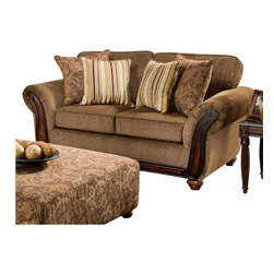 Chelsea Home - Transitional Fairfax Loveseat - Includes toss pillows. Loveseat with cornell chestnut cover. Pillows with alpaca cumin cover. Seating comfort: Medium. Kiln-dried hardwood frame. Stress points are reinforced with blocks to secure long lasting frame. Sinuous springing system manufactured with reinforced 16-gauge border wire. Double springs are used on the ends nearest the arms to give balance in the seating. Hi-density foam cores with dacron polyester wrap cushions. Cushions made with zippers. Made from 100% polyurethane. Made in USA. No assembly required. 76 in. L x 40 in. W x 41 in. H (100 lbs.)