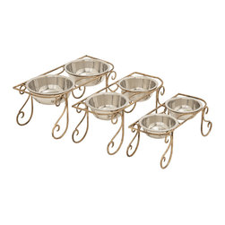 Simple and Gorgeous Metal Dog Feeder, Set of 3 - Description: