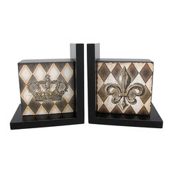 Harlequin Crown and Fleur De Lis Wooden Bookends - Made of wood, this beautiful pair of black lacquer bookends has a harlequin print on the front. A crown is featured in the center of one bookend, the other features a Fleur de Lis symbol. Measuring 6 1/4 inches tall, 4 inches deep, and 5 5/8 inches wide, they add a touch of royalty and style to any room. This pair also makes a great present for the holidays or for housewarming gifts.