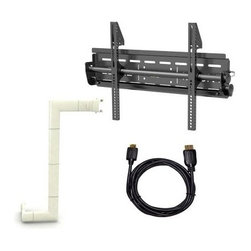 Level Mount Tilt Wall Mount Bundle for 26 - 57 in. TVs with HDMI Cable and Cord - A complete package, the Elexa Level Mount Tilt Wall Mount Bundle for 26 - 57 in. TVs with HDMI Cable and Cord Cover gives you all you need to mount your flat panel TV to the wall. Easy to use and install, this mount system is designed to fit any 26- to 57-inch flat panel TV up to 200 pounds. It tilts 15 degrees for optimal viewing. This bundle package includes the Level Mount tilt TV wall mount, a 10-foot HDMI cable, and 10-foot cord cover. It also includes everything needed for mounting, including: a built-in bubble level, stud finder with battery, extension arms, and mounting hardware.About Level Mount by ElexaLevel Mount is an industry leader in designing, engineering, and manufacturing mounting systems for flat panel TVs. This brand was started in 2003 when the flat panel TV industry began to expand. Level Mount is a brand under Elexa Consumer Products Inc., an electronic accessories company founded in 1993. Level Mount is now a firmly established leader in the flat panel TV mounting industry. Level Mount offers superior do it yourself flat panel TV mounting systems that are easy to install and guaranteed to fit any size TV. All Level Mount products are VESA compliant and include adapter plates or extender arms as well as integrated bubble levels to help you ensure the back plate is level.
